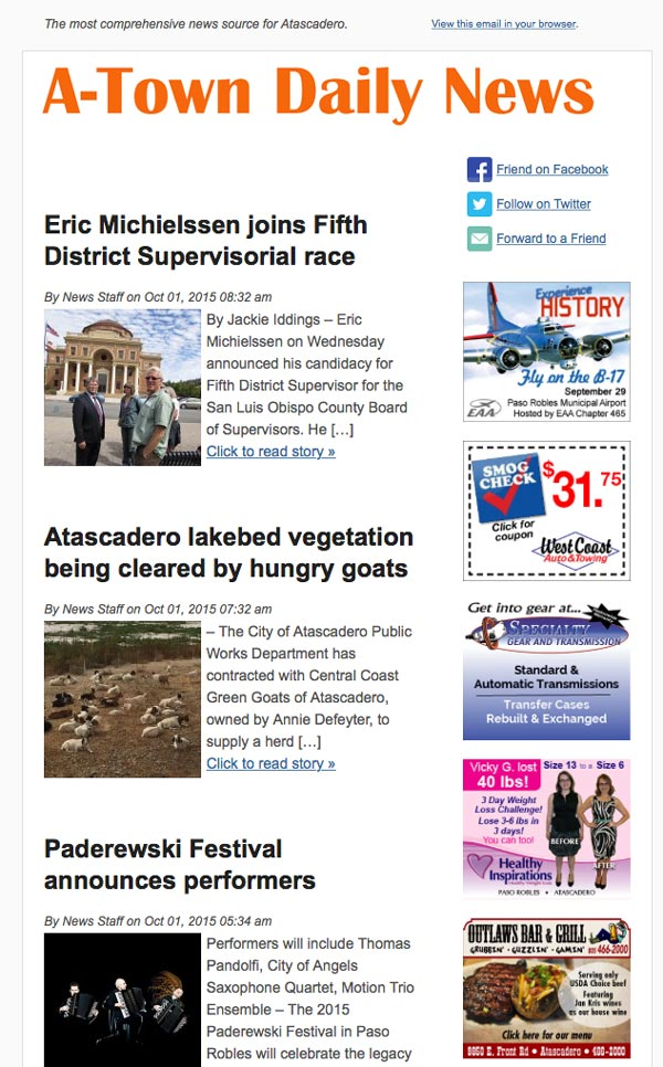 Atascadero news subscription