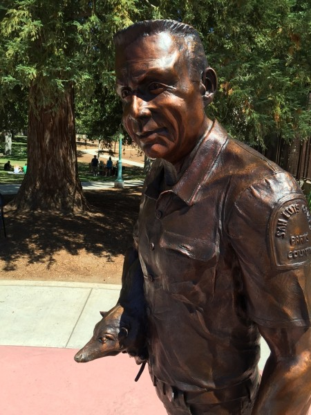 Charles Paddock is remembered in bronze, unveiled to the public July 4.     Photo by Paula McCambridge
