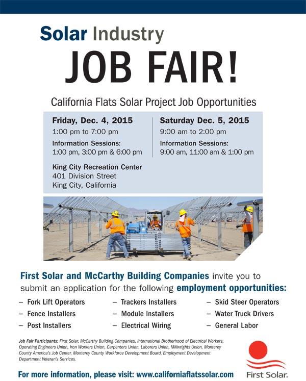 First Solar Hosts Jobs Fair For New Solar Project