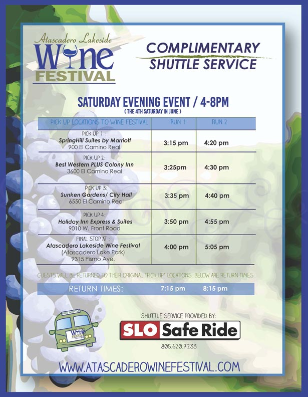 Shuttle flyer atascadero wine festival