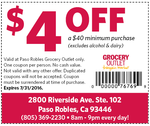 Grocery Outlet 4 Off Coupon A Town Daily News Atascadero News Leader
