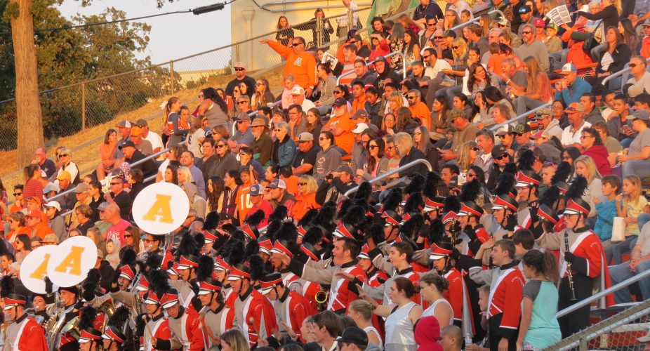 The crowd was kept in full spirits by the AHS marching band throughout the game.