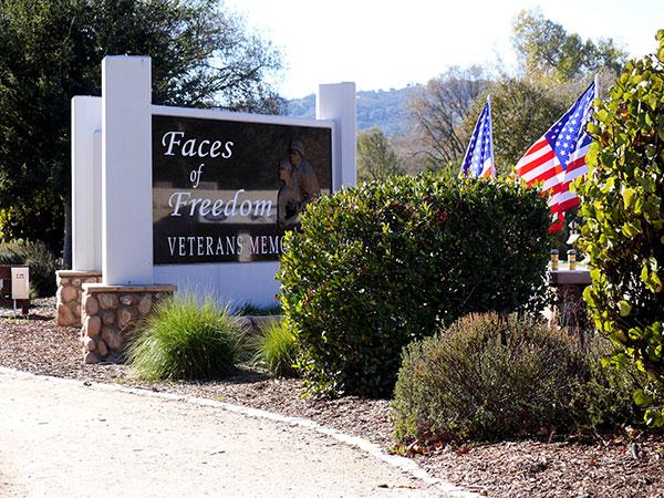 Faces of Freedom Veterans Memorial on Morro Road.
