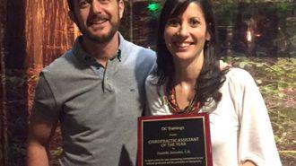 Atascadero's chiropractor congratulates Danielle Zemaitis.