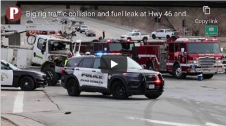 Collision, diesel leak on Hwy. 46 east at Hwy. 101 underpass cleared – See video