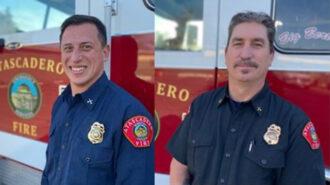 Battalion Chief of Operations Matt Miranda, at left, and Battalion Chief of Community Risk Reduction Dave Van Son